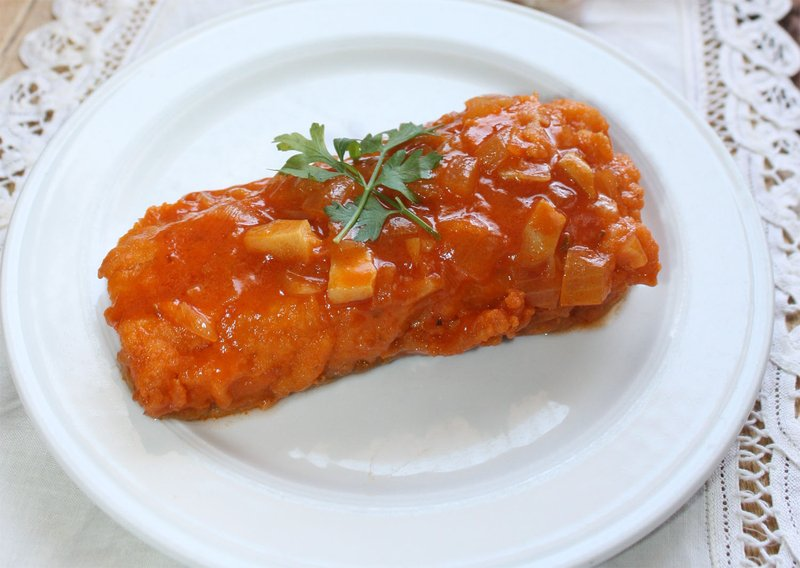 005042 Fried cod with tomato recipe - Spanish recipes
