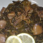 Squid recipe with greens– Greek recipes
