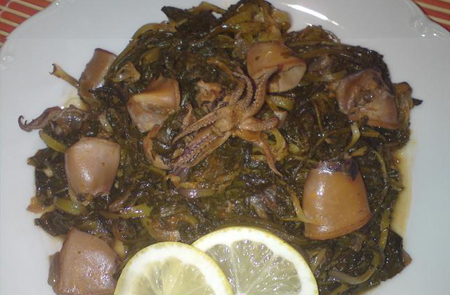 005078 Squid recipe with greens– Greek recipes